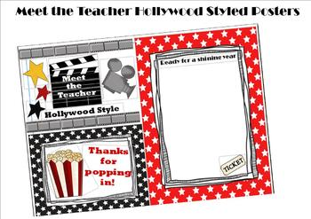 Meet the Teacher Hollywood Themed Posters