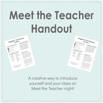 Meet the Teacher Infographic Handout - EDITABLE