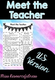 Meet the Teacher Information Sheet - US version