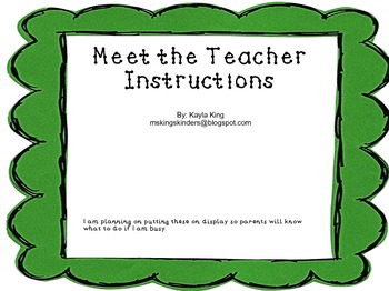 Meet the Teacher Instructions