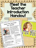 Meet the Teacher Introduction Handout!