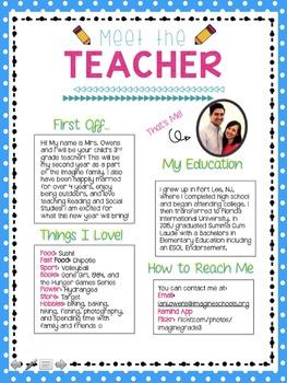 Meet The Teacher Letter By Third Grade Corner Tpt