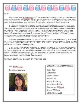 Meet the Teacher Letter- Owl