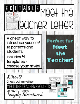 Meet the Teacher Letter