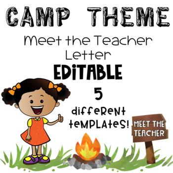 Meet the Teacher Letter- CAMP THEME Editable