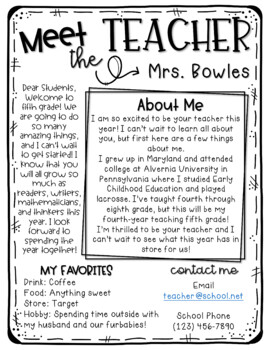 Meet the Teacher Letter *EDITABLE*