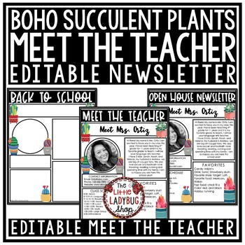 Cactus Theme Meet The Teacher Template Editable & Meet the Teacher Letter