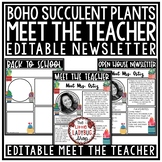 Cactus Theme Welcome Back to School Letters Editable: Meet The Teacher Template