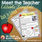 meet the teacher letter editable teaching resources