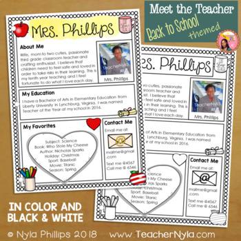 Meet the Teacher Letter - Editable Template - Back to School Theme