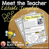 Meet the Teacher Letter - Editable Template - Bee Theme