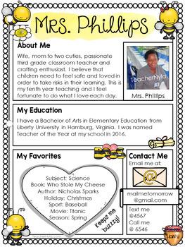 meet the teacher letter editable template bee theme
