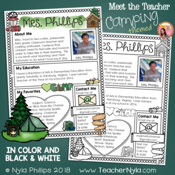 Meet the Teacher Letter - Editable Template - Camping Theme