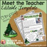 Meet the Teacher Letter - Editable Template - Camping Theme