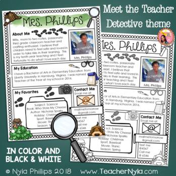 Meet the Teacher Letter - Editable Template - Detective Theme