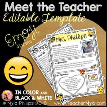 Meet the Teacher Letter - Editable Template - Emoji Theme
