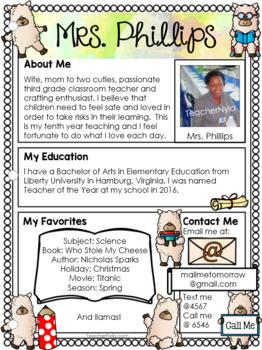 Meet the Teacher Letter - Editable Template - LLama Theme