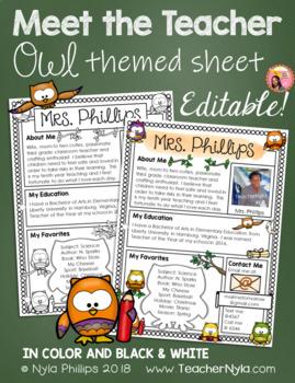 Meet the Teacher Letter - Editable Template - Owl Theme