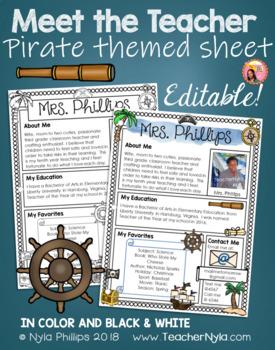 Meet the Teacher Letter - Editable Template - Pirate Theme