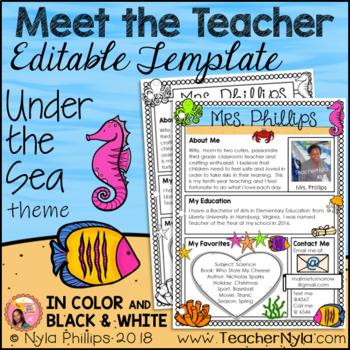 Meet the Teacher Letter - Editable Template - Under the Sea Theme