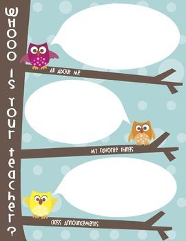 """Meet the Teacher Letter *Editable*:  """"Whooo's Your Teacher"""""""