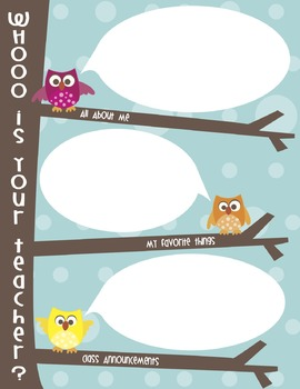 "Meet the Teacher Letter *Editable*:  ""Whooo's Your Teacher"""