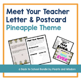 Meet the Teacher Letter & Postcard (editable) - Pineapple Theme - #bestyearever
