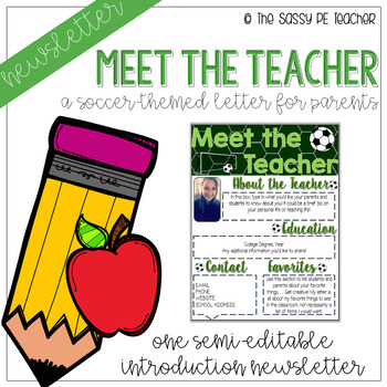 Meet the Teacher Letter - Soccer