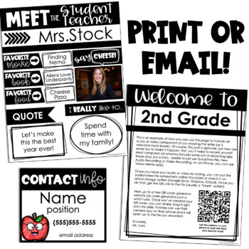 Meet the Teacher Letter EDITABLE (and bonus Teacher Contact Info cards!)