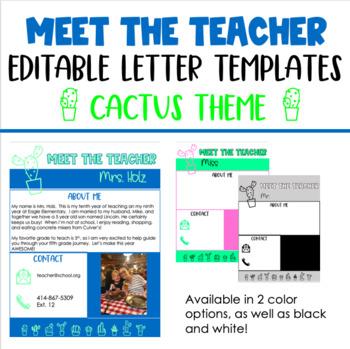 Meet the Teacher Letter Template: Cactus Theme