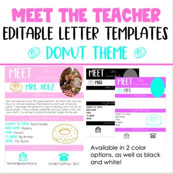 Meet the Teacher Letter Template: Donut Theme