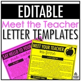 Meet the Teacher Letter Templates | EDITABLE
