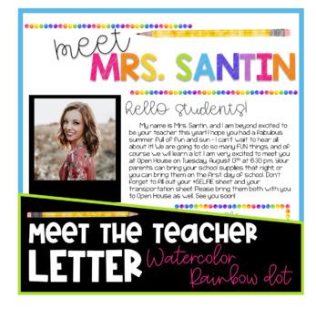 Meet the Teacher Letter - Watercolor Rainbow Dot EDITABLE