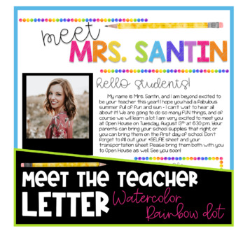 Meet the Teacher Letter - Watercolor Rainbow Dot EDITABLE