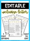 EDITABLE Meet the Teacher Letter - Welcome Letter - Parent Survey - Gold Arrow