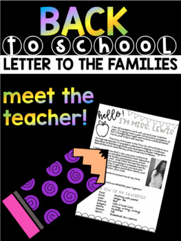Meet the Teacher Letter for Back to School