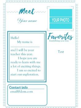 Meet the Teacher Letter in 5 colors