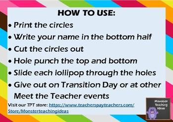 Meet the Teacher Lollipop Gift Tags