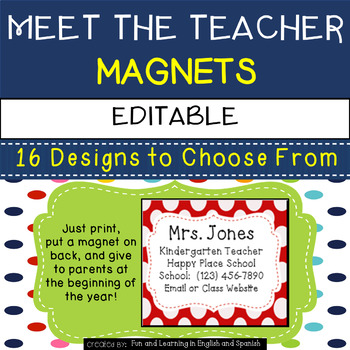 Meet the Teacher Magnets {Editable}