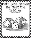 Meet the Teacher Math Dice Games, Gift
