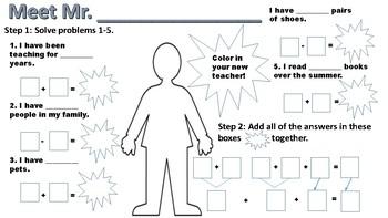 Meet the Teacher Math Activity (Primary)