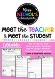Meet the Teacher & Meet the Student EDITABLE Templates