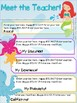 Meet the Teacher - Mermaid THEME - Back to School - All Grades