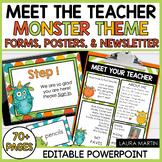 Meet the Teacher Open House EDITABLE templates Monster Theme | Back to School