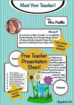 Meet the Teacher! Multi-Option Introduction Sheet! Back to School Material!