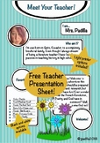 Meet the Teacher! Multi-Option Introduction Sheet! Back to