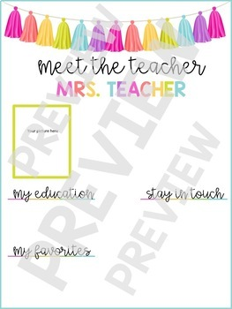 Meet the Teacher - Neon Tassel - EDITABLE
