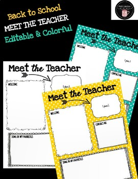 meet the teacher newsletter back to school editable bright colors