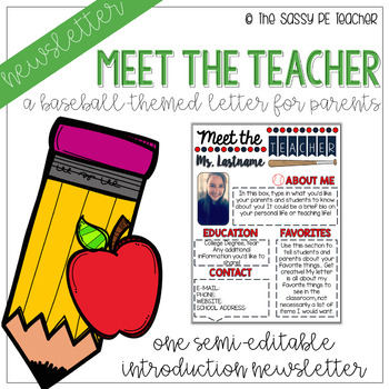 Meet the Teacher Newsletter - Baseball