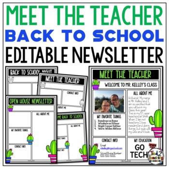 Meet the Teacher Newsletter: Cactus - EDITABLE